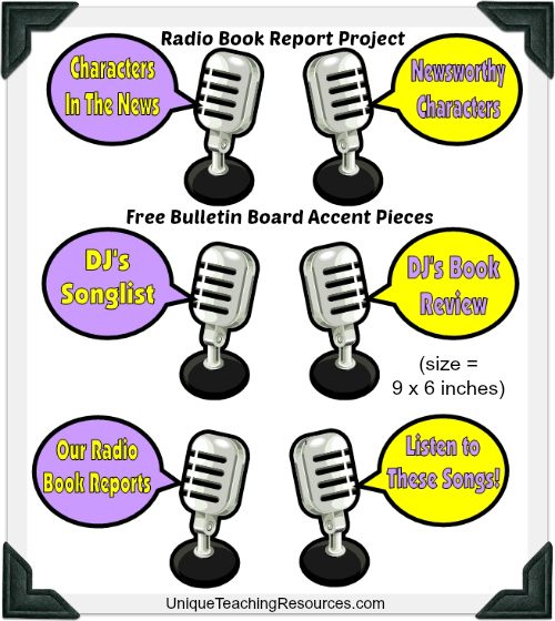 Free Bulletin Board Display Accent Pieces For Radio Book Report Projects