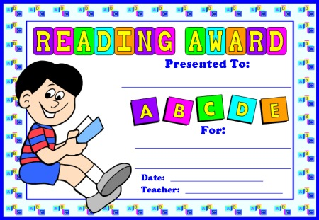 Reading Comprehension Award Certificate for Boy Students