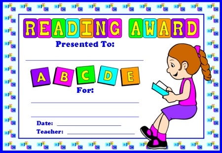 Reading Comprehension Award Certificate for Girl Students