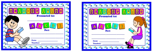 Reading Award Certificates for Boy and Girl Elementary School Students