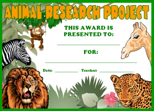 Free Science Award Certificate Animal Research Projects