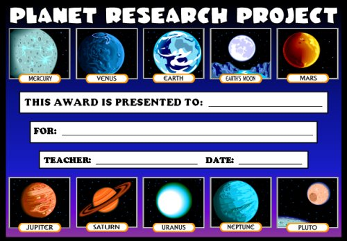 Free Science Award Certificate Planet Research Projects