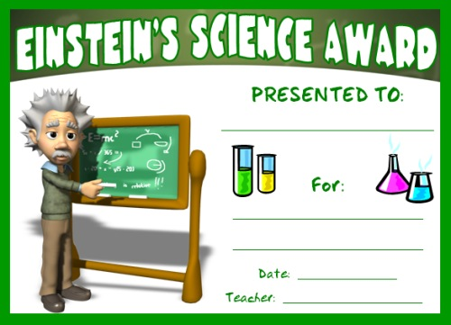 Free Science Award Certificate Einstein's Experiment