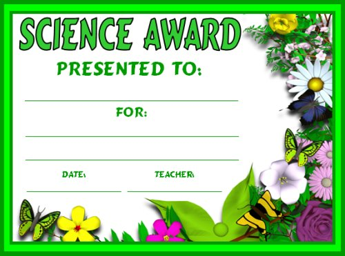 Free Science Study of Plants Award Certificate