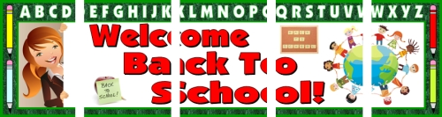 Assemble these 5 pages together to create a free Welcome Back To School bulletin board display banner for your classroom.