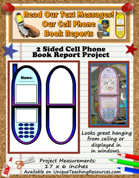 Ideas For Fun 2 Sided Book Report Projects - Cell Phone Templates