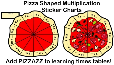 Fun Multiplication Sticker Charts For Elementary Students Shaped Like Pizzas