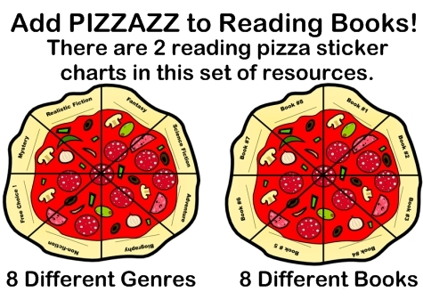 Fun Pizza Shaped Reading Sticker Charts For Elementary School Students
