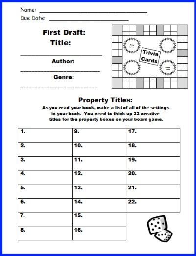 Game Board Book Report Projects First Draft Printable Worksheets