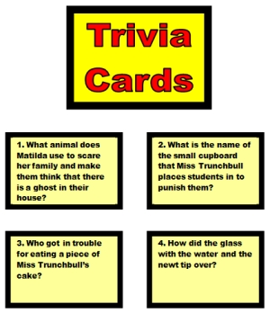 Monopoly Game Board Trivia Cards for Matilda by Roald Dahl