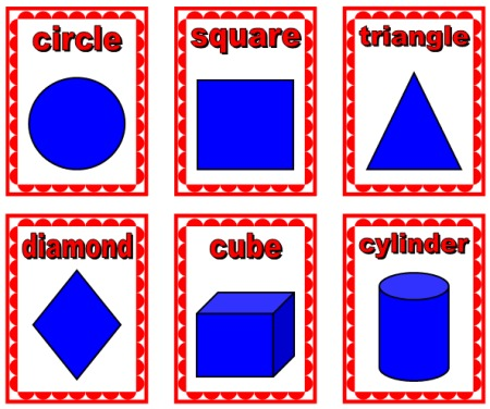 Math Geometric Shapes Display for Elementary School:  circle, square, triangle, diamond, cube, cylinder
