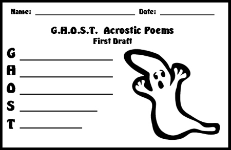 Halloween Ghost Acrostic Poem First Draft Printable Worksheets