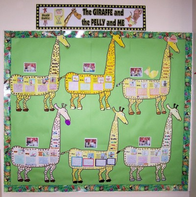 The Giraffe and the Pelly and Me bulletin board display ideas and examples