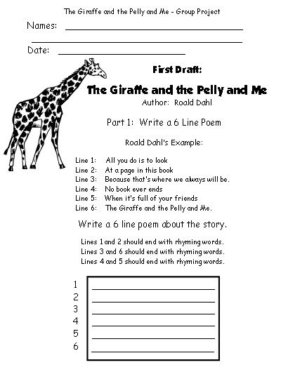 Printable Worksheets The Giraffe and the Pelly and Me