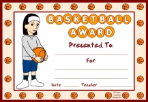 Basketball PE Award Certificate For Girl Students