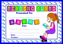 Girl Reading Award Certificate