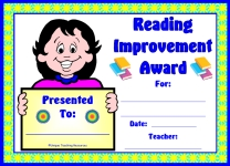 Reading Improvement Award For Girl Elementary School Students
