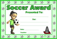 Soccer PE Award Certificate For Girl Students