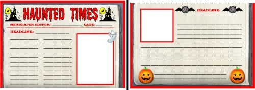 Halloween Times Newspaper Worksheets