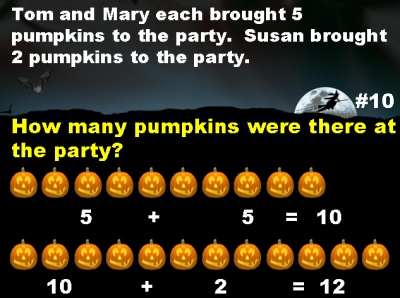 Halloween Math Powerpoint Presentation and Lesson Plans for Elementary School Teachers for Word Problems