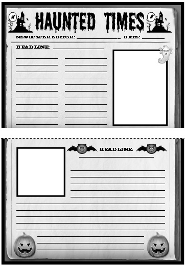 Halloween Newspaper Creative Writing Templates, Worksheets, and Lesson Plans for October