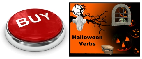 Halloween Past and Present Tense Verbs Powerpoint Presentation Buy Now Button