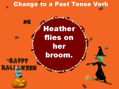 Present and Past Tense Verbs Halloween Powerpoint for Elementary School Teachers