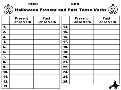 Halloween Past and Present Tense Verbs Printable Worksheets