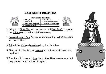 Halloween Creative Writing Witch Stories Assembling Directions Worksheet