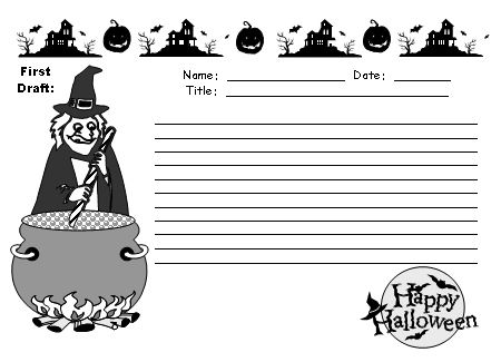 Halloween Creative Writing First Draft Worksheets