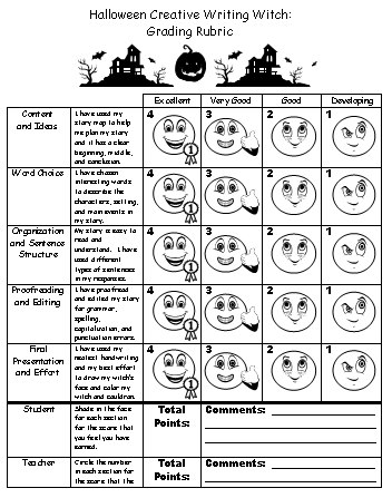Halloween Grading Rubric Writing Creative Writing Project
