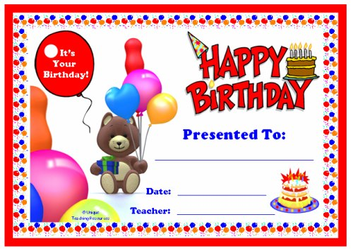 Happy Birthday Award Certificate For Children and Elementary School Students