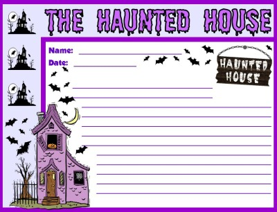 Haunted House Decorations on Haunted House Halloween Printable Worksheets