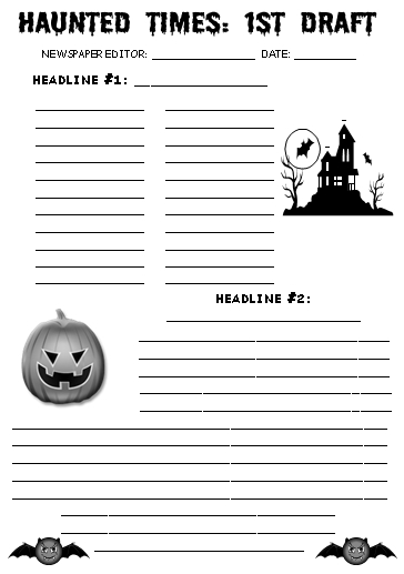 Halloween and October Newspaper First Draft Creative Writing Worksheets
