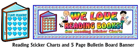 International Literacy Day Reading Sticker Charts and Bulletin Board Display Banner