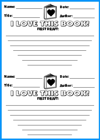 Valentine's Day Reading Activity:  I Love This Book! First Draft Worksheet