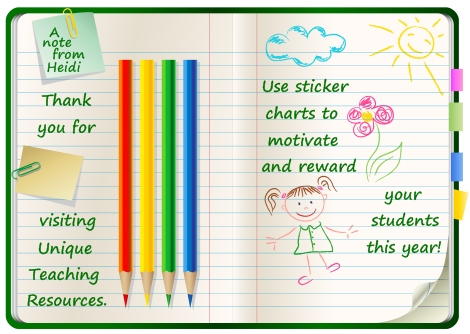 Fun and Unique Incentive and Sticker Charts on Unique Teaching Resources