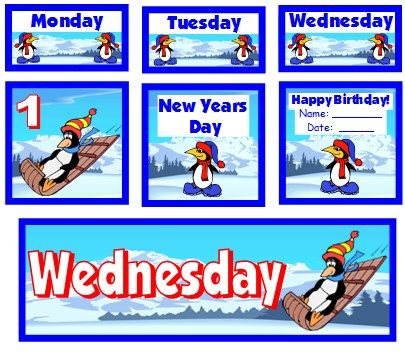 January Penguin Calendar Set For Elementary School Teachers Using Pocket Charts