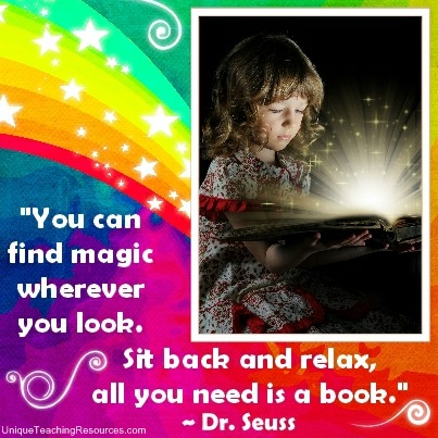 Dr Seuss Reading Quote - You can find magic wherever you look. Sit back and relax, all you need is a book.