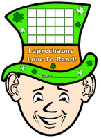 Leprechaun March Reading Sticker Chart for St. Patrick's Day