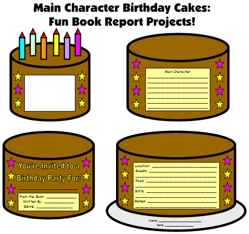 Fun Main Character Book Report Projects Birthday Cake Templates