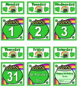 Free March Printable Classroom Calendar Set For Pocket Charts