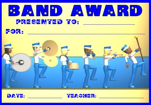 Marching Band Award Certificate for Elementary School Students