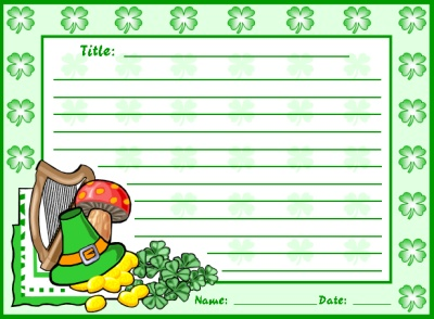 St. Patrick's Day and March Creative Writing Stationer and Printable Worksheets