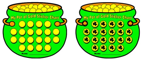 Pot of Gold St. Patrick's Day Sticker Chart Set