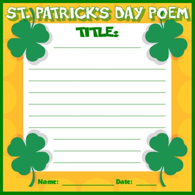 St. Patrick's Day Poetry Writing Printable Worksheets and Templates