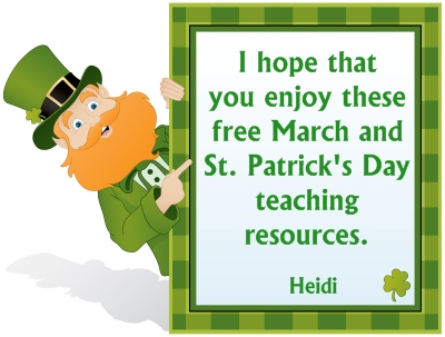 Free St. Patrick's Day and March Teaching Resources and Lesson Plans for Elementary School Teachers