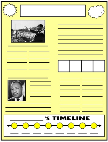 Martin Luther King Biography Newspaper Project