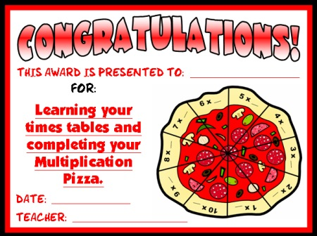 Math Multiplication Award Certificate Pizza Elementary School Students