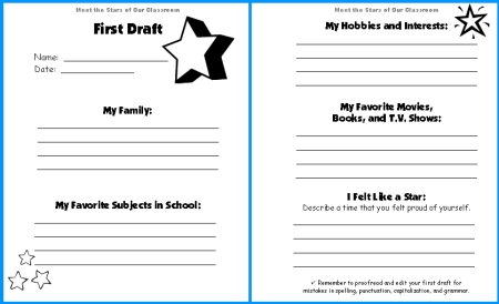 Worksheets Worksheet Templates For Teachers star writing templates fun back to school activity meet the stars of our classroom first draft